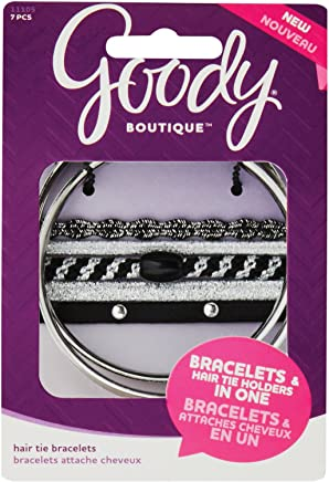 Goody Products Goody Boutique Hair Tie Bracelets, Silver Bracelet with Assorted Midnight Edge Elastics, 7 count