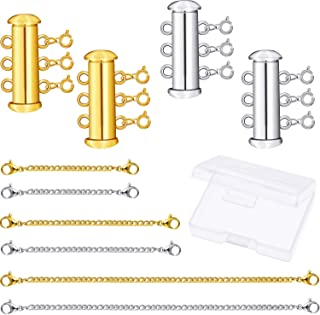 10 Pieces 3 Strnds Slide Magnetic Clasps Multi Strands Tube Clasp Connectors and Necklace Bracelet Chain Extenders with Storage Box