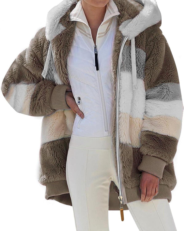 Women Faux Fur Coats Oversized Winter Fuzzy Fleece Long Sleeve Z