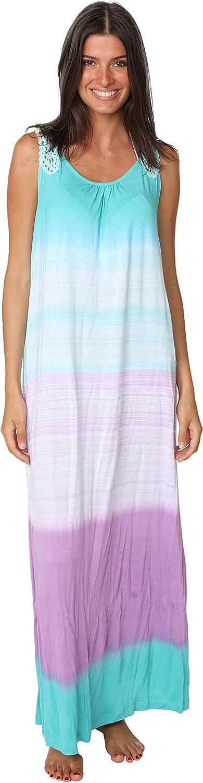 Ingear White Black Tie Dye Maxi Dress Summer Crochet Tank Racerback Cover Up