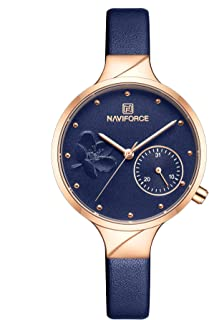 Naviforce Women's Blue Dial Genuine Leather Analog Watch - NF5001-RGBEBE