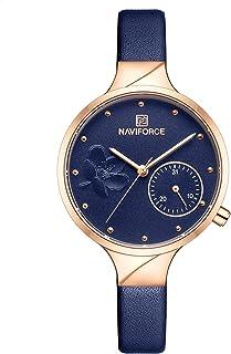 ساعة انالوج بمينا زرقاء وجلد اصلي للنساء من نافي فورس - NF5001-RGBEBE