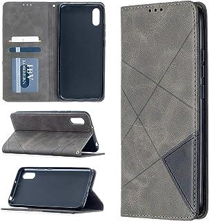 電話ケース Xiaomi Redmi 9cの菱形テクスチャ水平フリップ磁気レザーケースホルダー&カードスロット (Color : Grey)