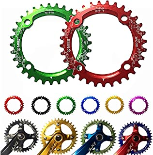 Velocidad Montaña para Bicicleta Bielas Speed ??Bicycle Chainring, BCD 104MM Chainring MTB Bike Estrecha Ancha Redonda Oval Single Chain Ring 32t / 34t / 36t ( Color : Azul , Size : Oval 34T )