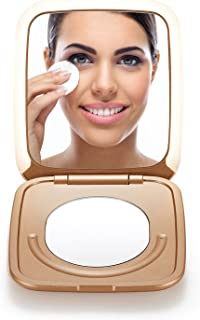 OMIRO LIGHTED COMPACT MIRROR, 3½ Inch 1X/5X Magnification, Small Folding Travel Makeup Mirror with Innovative Smile Touch ...