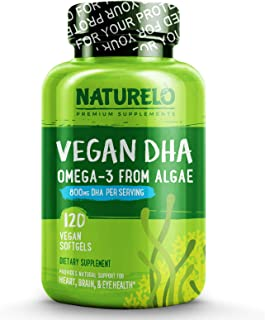 NATURELO Vegan DHA - Omega 3 Oil from Algae - Best Supplement for Brain, Heart, Joint, Eye Health - Provides Essential Fatty Acids for Women Men and Kids - Complements Prenatal Vitamins - 120 Softgels