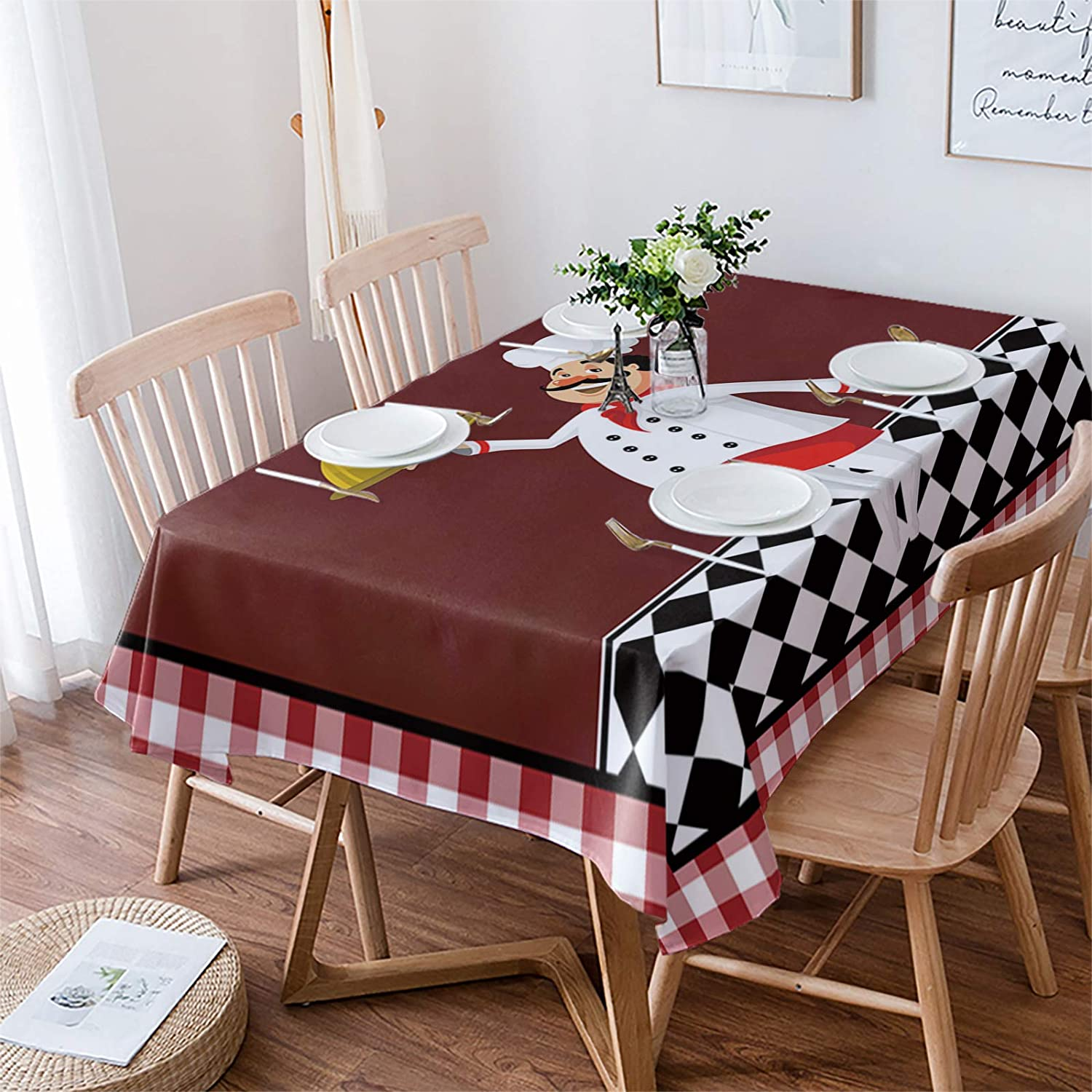 Aomike Linen Rectangle Tablecloth Funny Gourmet Red ギフト 新作通販 Chef Holding
