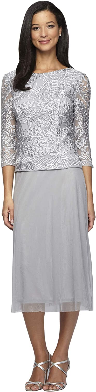 Alex Evenings Women's Sequin Lace Mock Dress (Petite and Regular), Platinum, 8