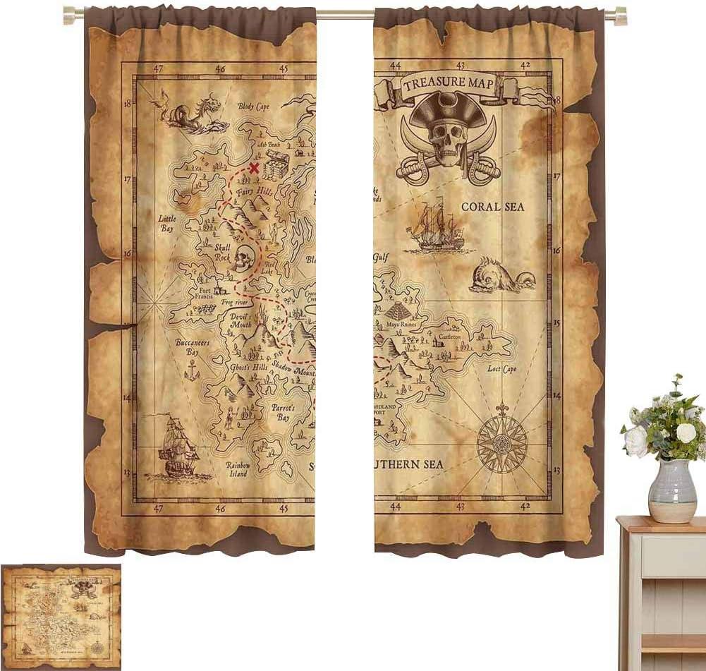2020 Gardome Customized Curtains 毎日続々入荷 Island Treas Detailed Super Map 新登場