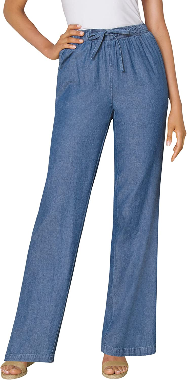Woman Within Women's Plus Size Pull-On Elastic Waist Cotton Chambray Pants