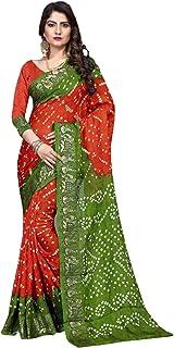 Indian orange green Bandhej Art Silk Zari weaving Festival Bandhani Printed Saree Blouse Sari 6316