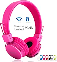 Kids Bluetooth Headphones Foldable Volume Limiting Wireless/Wired Stereo On Ear HD Headset with SD Card FM Radio in-line V...