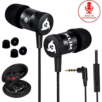 KLIM Fusion Earbuds with Microphone + Long-Lasting Wired Ear Buds + 5 Years Warranty - Innovative: in-Ear with Memory Foam + Earphones with Mic and 3.5mm Jack - New 2020 Version - Black
