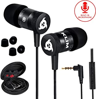 Klim Fusion Earbuds With Mic Audio - Long-Lasting Wired Ear Buds - Innovative: In-Ear With Memory Foam Earphones With Microphone - 3.5Mm Jack - New Earphone 2020 Version - Black