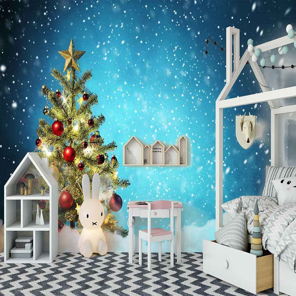 HWCUHL Wall Stickers Kids 5 ☆ popular Bedroom Tree Art Canvas Christmas Blue We OFFer at cheap prices