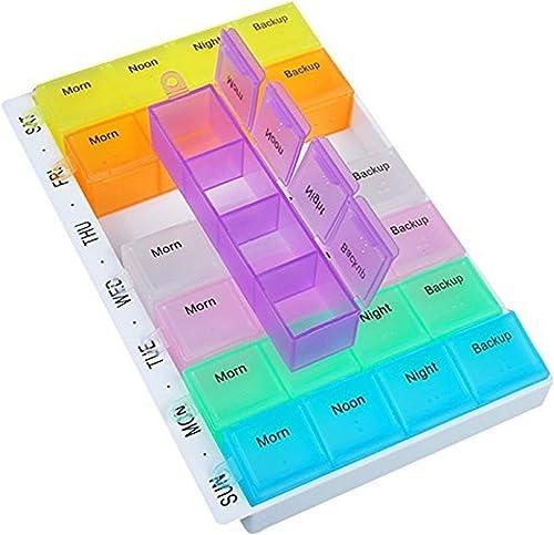 INOVERA 7 Days Medicine Pill Storage Organizer Box Container Case 18L x 11 6W x 2 5H cm Multicolor