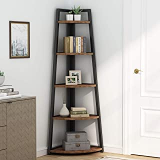Rustic 5 tier 70 Inch Tall corner Shelf Bookshelf,...