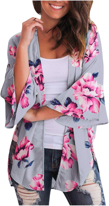Chiffon Kimono Long Cardigan Tops for Women Flowers Print Blouse Shawl Loose Outwear Sun Protection
