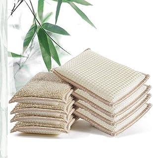 JEBBLAS 天然竹繊維吸収スポンジ、再利用可能なキッチンクリーニングスポンジ、8つの食器洗いスポンジ