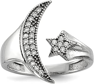 925 Sterling Silver Cubic Zirconia Cz Moon Star Band Ring Sun/moon/star Fine Jewelry For Women Gift Set