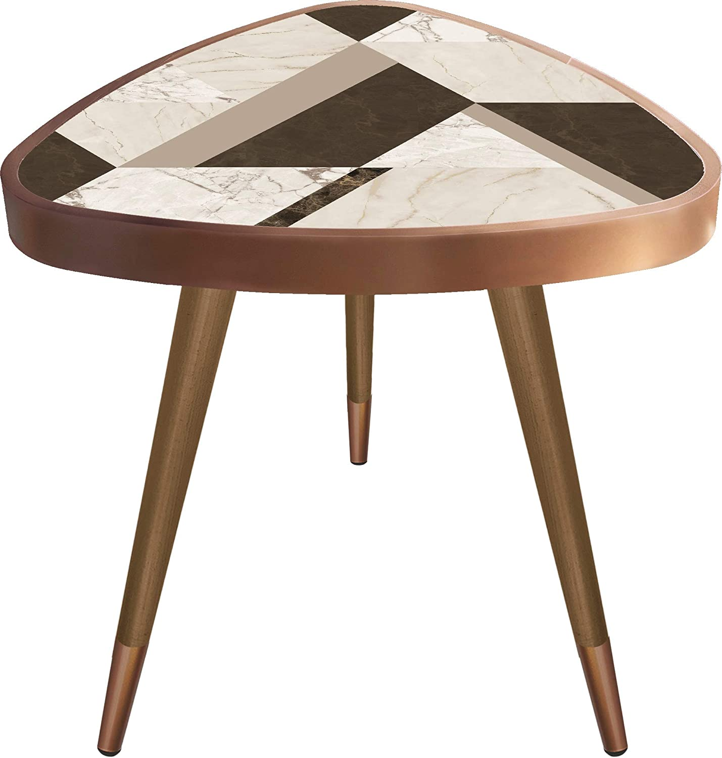 White and Brown Patterned Print Triangle Wooden Design Vintage,Retro, Mid-Century Modern Design Wooden Coffee Table, Cocktail Table for Living Room, Bedroom or Home Office