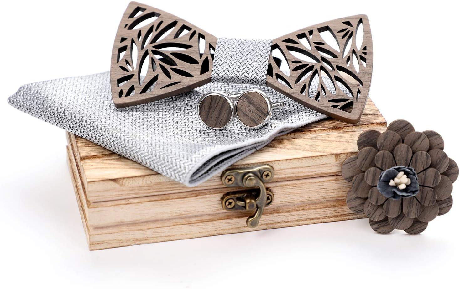 Licogel Wedding Accessories Decorative Wooden Wedding Supplies DIY Bow Tie Pocket Square Cufflinks Studs Wedding Corsage for Man