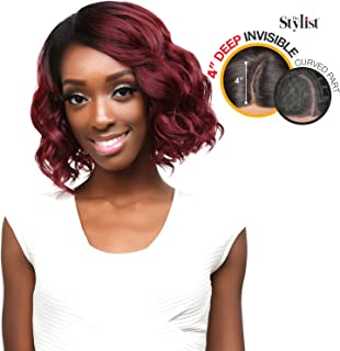 The Stylist Synthetic Lace Front Wig Deep Lace Curved Part Ravish Curl (1B)