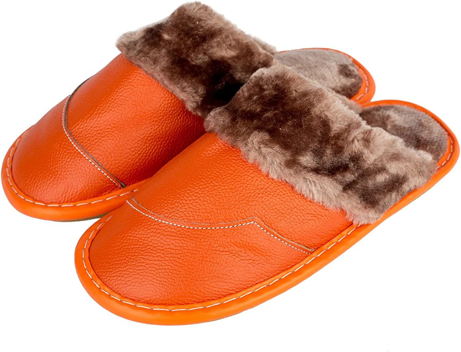 Haisum Women's Indoor Winter Genuine Leather Splicing Faux Fur Lining Plush Mules Comfy House Slippers