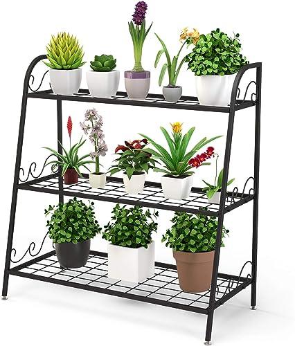 new arrival Giantex 3 Tier Metal Plant Stand, Indoor Outdoor Plant Shelf, Flower Rack Display Shelf, online Flower Pots Holder with Adjustable Feet for Garden, Balcony, Living outlet online sale Room (3-Tier (32''x 13'' x 32'')) outlet online sale