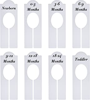 Willbond 8 Pieces Closet Dividers Baby Boy Girl Clothing Rack Size Dividers with Sizes Newborn to 18-24 Months