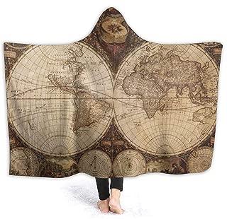 OuLian Retro World Map Hooded Blankets Fleece Plush Warm Cozy Sherpa Wearable Blanket Throw Cuddle Poncho Cloak Cape Wrap for Women Men Bed Sofa Couch(Adults Twin 60 x 80 inch)