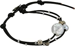 Chan Luu - Fresh Water Pearl On Leather Single Wrap Bracelet w/ 18k Gold Plated Beads