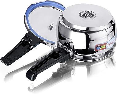 Vinod V-5.5L Splendid Handi Pressure Cooker, Stainless Steel, 5.5 Liters