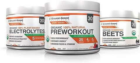 Ground-Based Nutrition Organic Pre Workout, Electrolytes and Beet Root Powder Bundle – Raw, Plant Based, Zero Carb Formula - Vegan, Gluten Free, Non-GMO, Sugar Free, 30 Servings