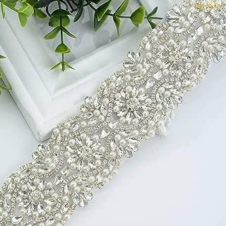 ShiDianYi Wedding Dress Belts with Rhinestones Pearl Embellishments Sparkly Wedding Sash Pearl Trim by The Yard Flower Girl Sash -190603S (1 Yard, Silver+327)