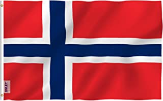 Anley Fly Breeze 3x5 Foot Norway Flag - Vivid Color and UV Fade Resistant - Canvas Header and Double Stitched - Norwegian Nordmann National Flags Polyester with Brass Grommets 3 X 5 Ft