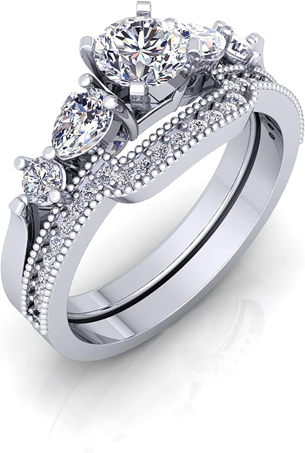 Diamond Free shipping anywhere in the nation Bridal San Jose Mall Sets 1.10 CTW - White Cut Natural Di Round Pear