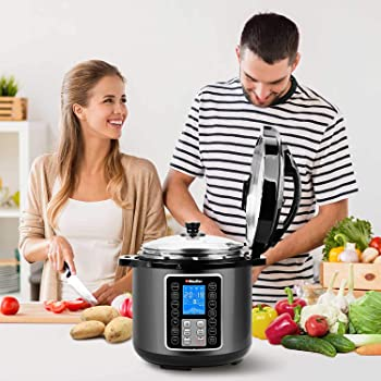 Mueller UltraPot 6Q Electric Hot Pot 10 in 1 Pressure Cooker with German ThermaV Tech, Cook 2 Dishes at Once, BONUS T...