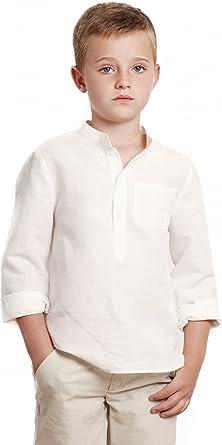 Camisa niño Blanco Roto GALÁN Camisa niño Cuello Mao, Camisa ...