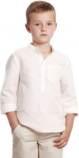 Camisa niño Blanco Roto GALÁN Camisa niño Cuello Mao ...