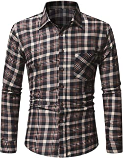 neveraway Men's Plaid Point Collar Brushed Leisure Heavyweight Woven Shirt