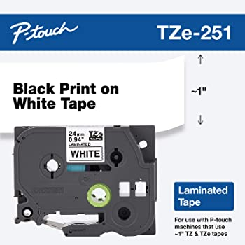 "Brother P-touch ~1"" (0.94"") , TZe251, Black on White Standard Laminated Tape - 26.2 ft. (8m)"