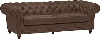 Stone & Beam Bradbury Chesterfield Tufted Leather Sofa Couch, 92.9