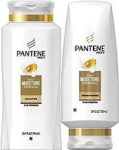 شامپو مرطوب کننده Pantene 25.4 OZ و تهویه بدون سولفات آزاد 24 OZ برای خشکی مو، رطوبت روزانه، بسته نرم افزاری (بسته بندی ممکن است متفاوت باشد)