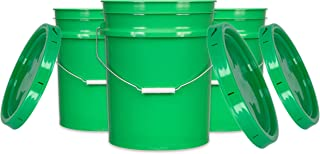 House Naturals 5 Gallon Plastic Bucket Food Grade BPA Free, 90mil Green Pail with lids (Pack of 3