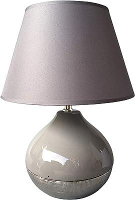 HOMEA 6LCE118GR LAMPE, CERAMIQUE, 40 W, Gris, L27l27H39CM