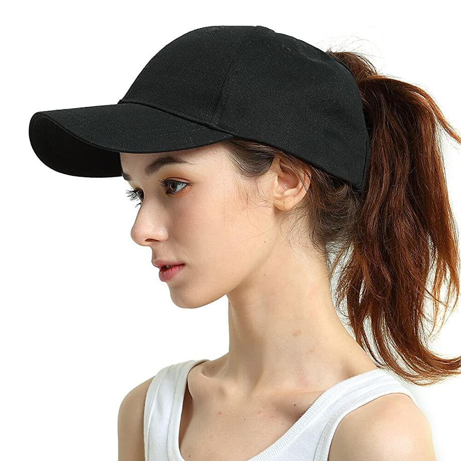 Womens Ponytail Messy High?Buns Mesh Trucker Ponycaps Plain Baseball Cap Dad Hat Adjustable Size,Variy Styles and Colors