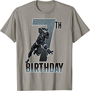 Black Panther Action Pose 7th Birthday Graphic Tee