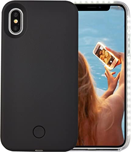 Wellerly iPhone Xs Case, iPhone X Case, LED Illuminated Selfie Light Cell Phone Case Cover [Rechargeable] Light Up Lu...