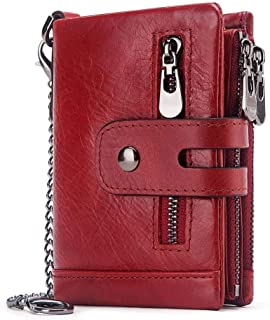 Mens Leather Bag RFID Anti-Theft Brush Wallet Tri-fold Multi-Card Crazy Horse Leather Men's Leather Wallet Coin Bag Bag (Color : Red)